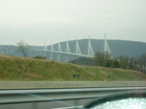 The Millau Viaduct snapped from the passenger seat. Photo doesn't do it justice.