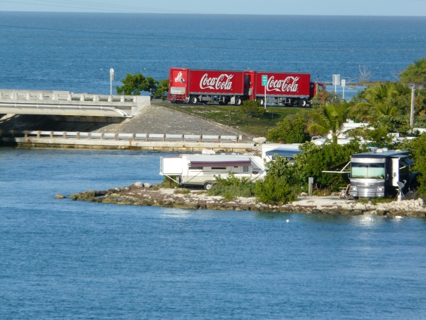 That's us, under the left Coca-Cola, maroon stripe on awning, bed slide hanging out over the Atlantic, gulf of Mexico in background. Photo taken at Bahia Honda Key.