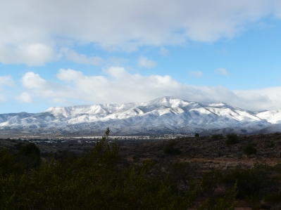 Snowy view from our Cottonwood campsite.