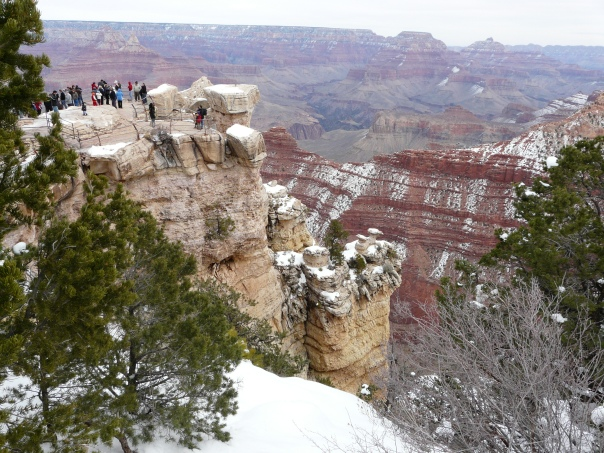 South Rim of the Grand Canyon in February and just a little colder than southern Arizona