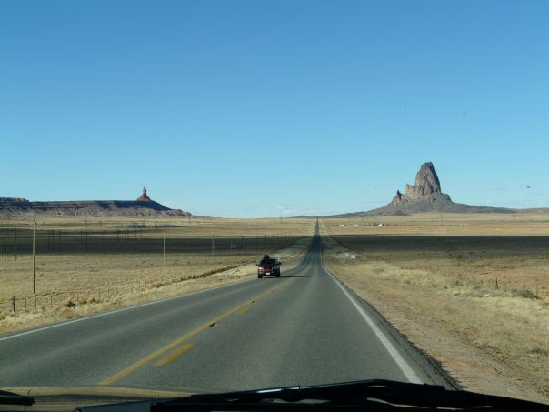 Our first glimpse of the famous red rock monuments.