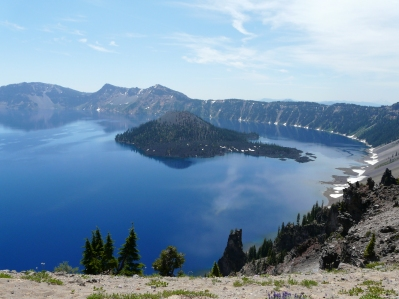 Crater Lake conveniently viewed from the car with lame husband.