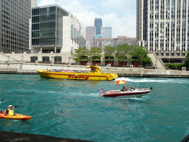 Seadog viewed on the Chicago River while eating our Chicago-style hot dogs.