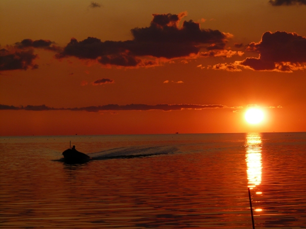 Sunset on Pamlico Sound, Outer Banks, NC - my reward for navigating badly.