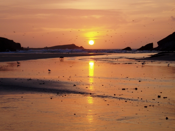 Sunset at Porth Beach, Cornwall, England