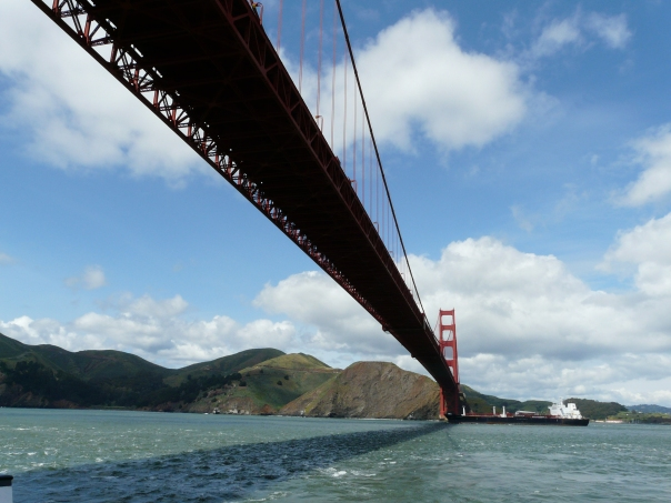 Sailing under the Golden Gate on a more relaxed day.