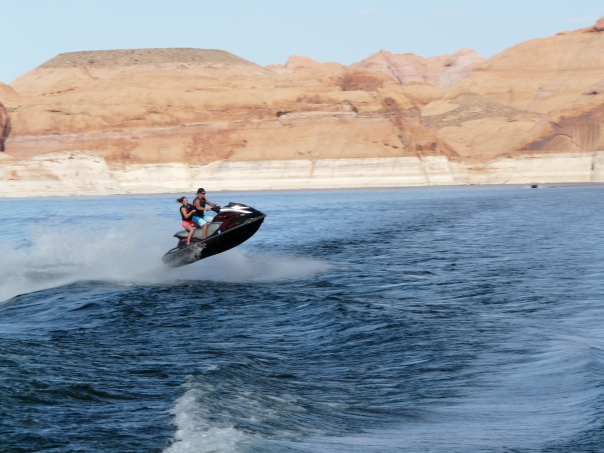 Jimmy and I navigating our way up Lake Powell. Oh yeah, like that's us.