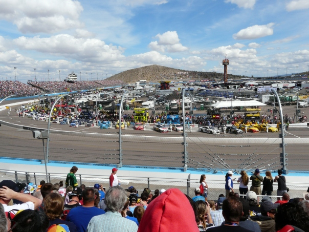 . . . . . . and flowed into the infield.