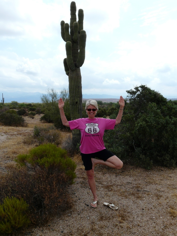 Namaste! Tree pose with cactus arms.