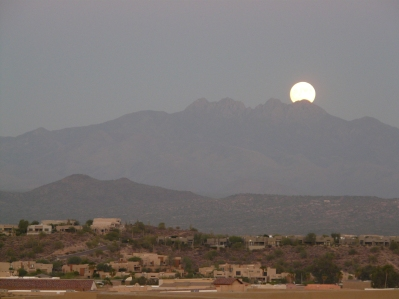 Moon rise over Four Peaks AZ
