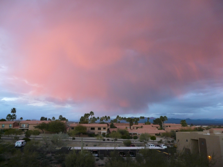 Pink rain! at sunset, Fountain Hills AZ