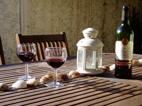 French wine on the terrace